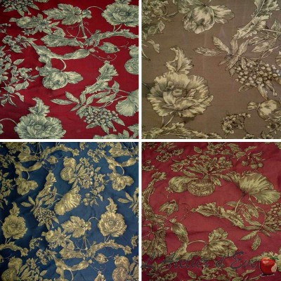 Les Grenades Jacquard (4 coloris) Tissu ameublement jacquard fleuri pour siège Thevenon
