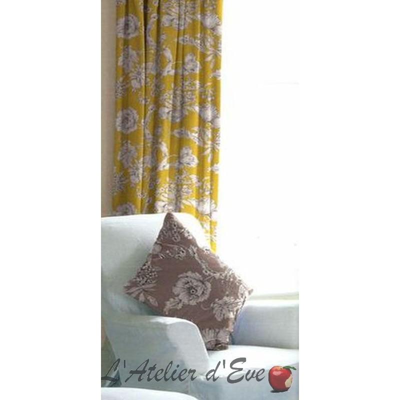 Les Grenades fond moutarde: rideau sur mesure satin de coton fleuri