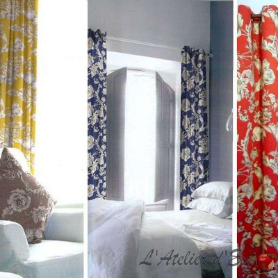 Grenades (4 colors) curtain eyelets ready to ask flowery Cotton satin Thévenon the curtain