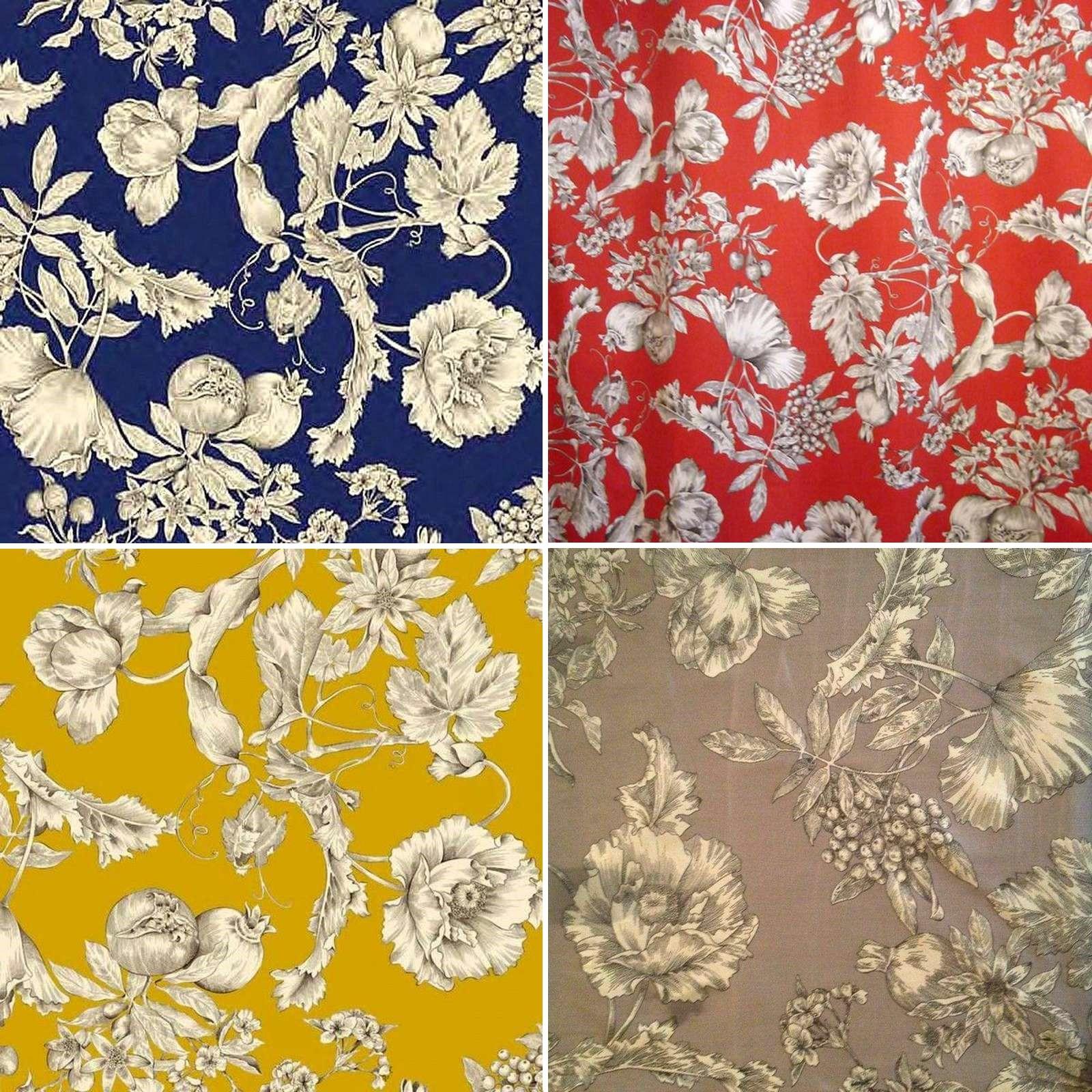 tissu satin en gros les grenades motif fleuri thevenon. Black Bedroom Furniture Sets. Home Design Ideas