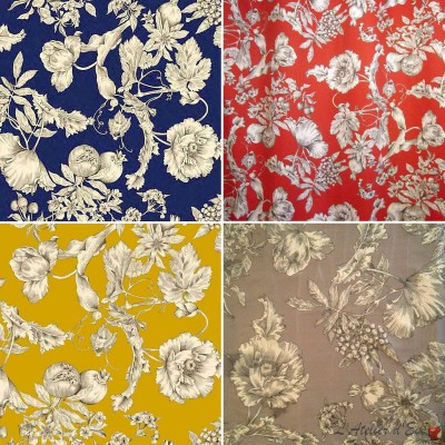 Grenades (4 colors) fabric Cotton satin furniture wide Thévenon