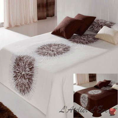 Agnes 4 size bedspread reversible white/chocolate C.05 Reig Marti