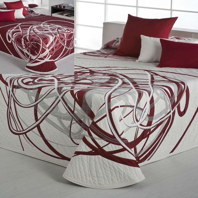 Bifor Couvre-lit réversible blanc-gris-rouge-Reig Marti C/02