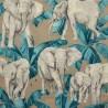 Ivoire turquoise Tissu ameublement coton grande largeur motif éléphants Thevenon