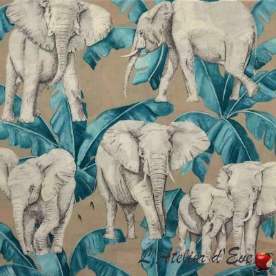 Ivoire turquoise rouleau tissu ameublement coton grande largeur motif éléphants Thevenon