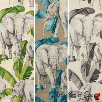 Ivory (3 colours) roll cotton furnishing fabric wide reason elephants Thévenon
