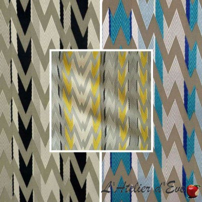 Flash (3 colors) fabric roll upholstery jacquard zig zag embroidered Thévenon room/half room