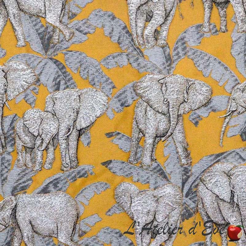 Zama or Tissu ameublement coton jacquard motif éléphants Thevenon