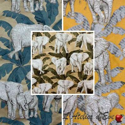 Zama (3 coloris) Tissu ameublement jacquard motif éléphants Thevenon