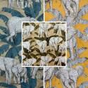 Zama (3 colors) fabric upholstery jacquard pattern elephants Thévenon
