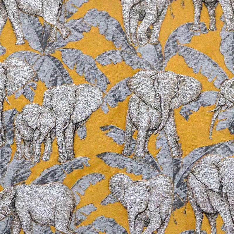 Zama or tissu ameublement jacquard motif éléphants Thevenon - Rouleaux tissu en gros