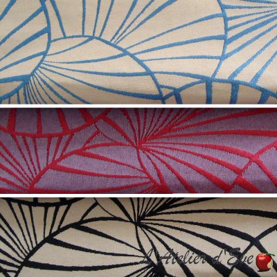 Water lilies (3 colours) reversible jacquard upholstery fabric for seat Thévenon