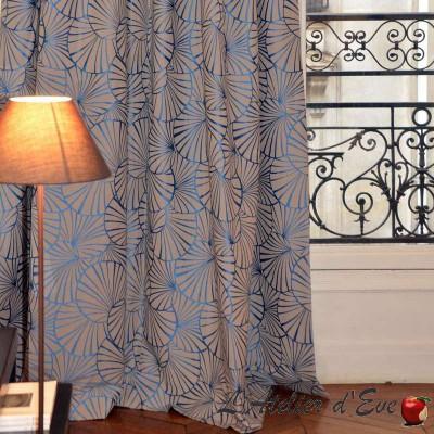 Nympheas (3 coloris) Rideau à oeillets prêt à poser jacquard réversible Thevenon Le Rideau