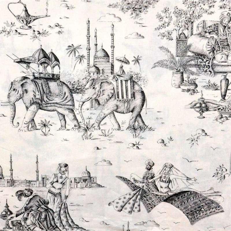 Mille et une nuits gris zinc Tissu ameublement grande largeur toile de jouy thème oriental Thevenon
