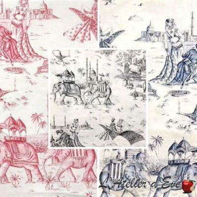 Mille et une nuits rouleaux bleu marine Tissu ameublement grande largeur toile de jouy thème oriental Thevenon