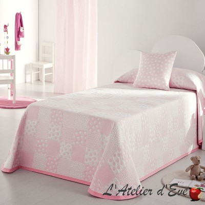 Pispa Couvre-lit enfant patchwork pois/etoiles rose/blanc