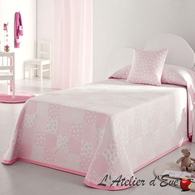 Pispa bedspread child patchwork peas/Star Pink/White