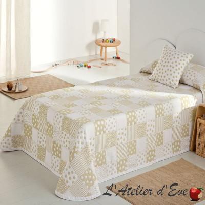 Pispa Couvre-lit enfant patchwork pois/etoiles beige/blanc