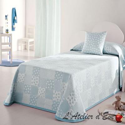 Pispa Couvre-lit enfant patchwork pois/etoiles bleu/blanc