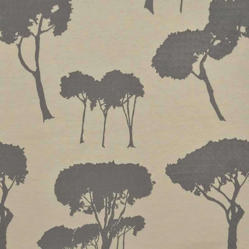 Notte gris fond crème Tissu ameublement jacquard motif arbre Thevenon