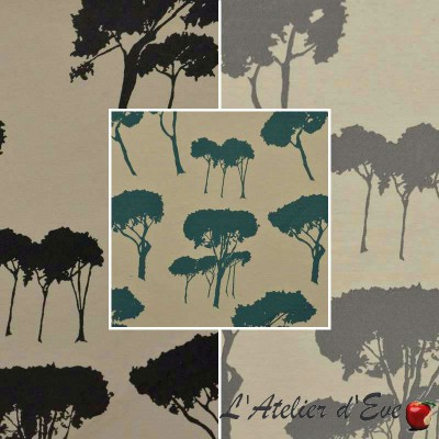 Notte (3 colors) fabric upholstery jacquard pattern tree Thévenon