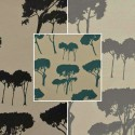 Notte (3 colours) roll fabric upholstery jacquard for pattern tree Thévenon room/half room seats