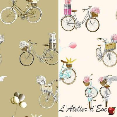 A Bicyclette - Tissu d'ameublement fantaisie en grande largeur par Thevenon Paris