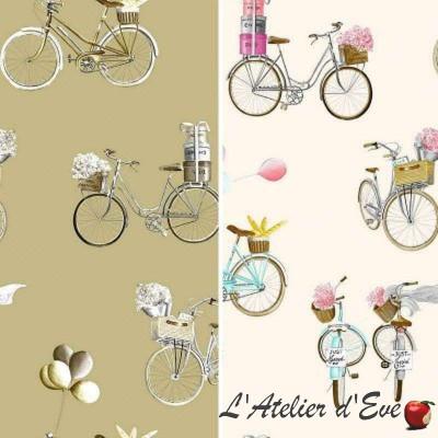 A Bicyclette (2 coloris) Tissu ameublement bachette coton grande largeur Thevenon le mètre