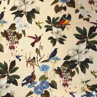 Il etait une fois Percale d'ameublement coton oiseaux et fleurs Thevenon