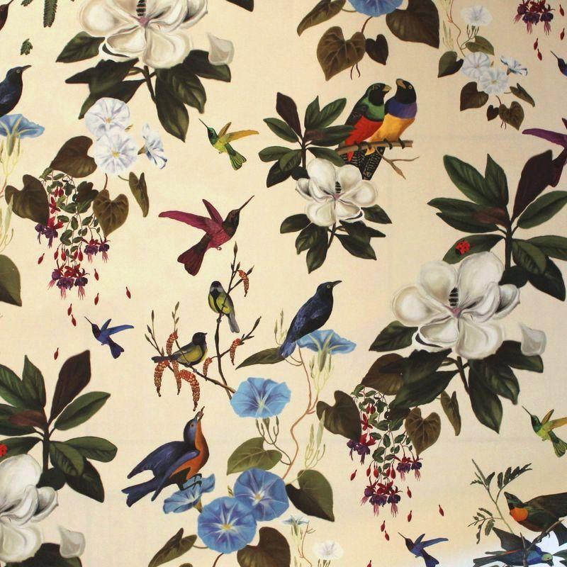 Il etait une fois Tissu ameublement coton fond crème motif oiseau et fleurs Thevenon