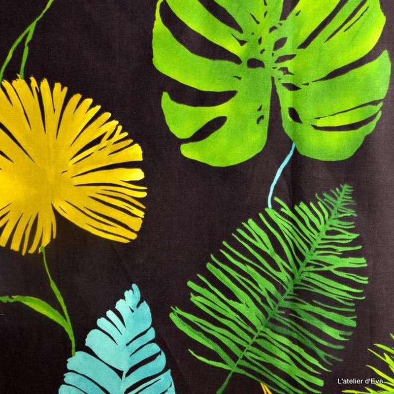 Sunset tissu 100% coton pour tapissier fond noir Thevenon Paris