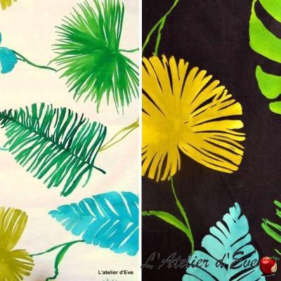 Sunset 3 coloris Tissu ameublement coton Feuilles fond blanc L.280cm Thevenon 1638601 le metre