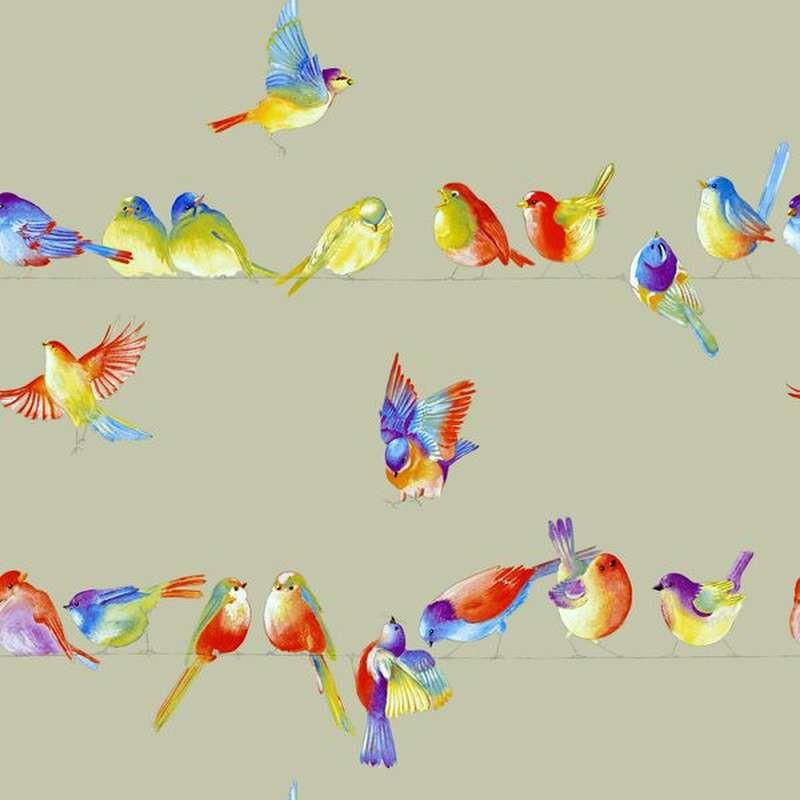 Nappe enduite sur mesure Happy Birds Made in France