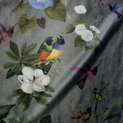 Il etait une fois (2 coloris) Tissu ameublement velours Oiseaux et fleurs Thevenon