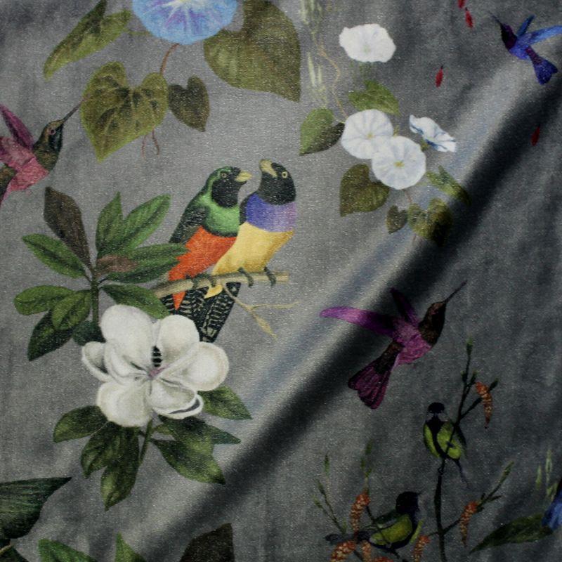 Il etait une fois (2 coloris) Tissu ameublement velours L.140cm oiseaux et fleurs Thevenon le metre