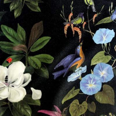Il etait une fois (2 coloris) Tissu ameublement velours pour sieges Oiseaux et fleurs Thevenon