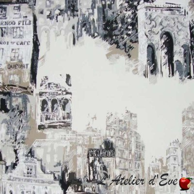 View of Montmartre roll fabric cotton bachette wide Thévenon Piece or half room