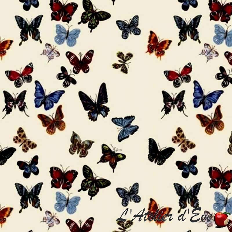 tissu en gros percale coton vol de papillons thevenon. Black Bedroom Furniture Sets. Home Design Ideas