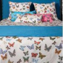 Flight of butterflies throw padded with quilting cotton percale Thévenon