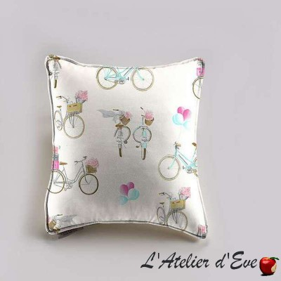 A Bicyclette Coussin et taie Tissu coton Thevenon