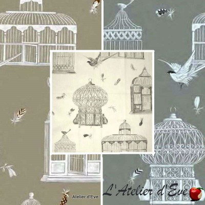 Bagatelle (3 colours) cotton fabric great width fancy birds Thévenon