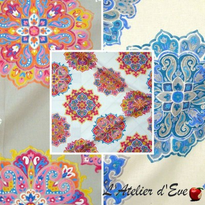 Bagatelle (3 colours) throw cotton quilted with quilting Thévenon