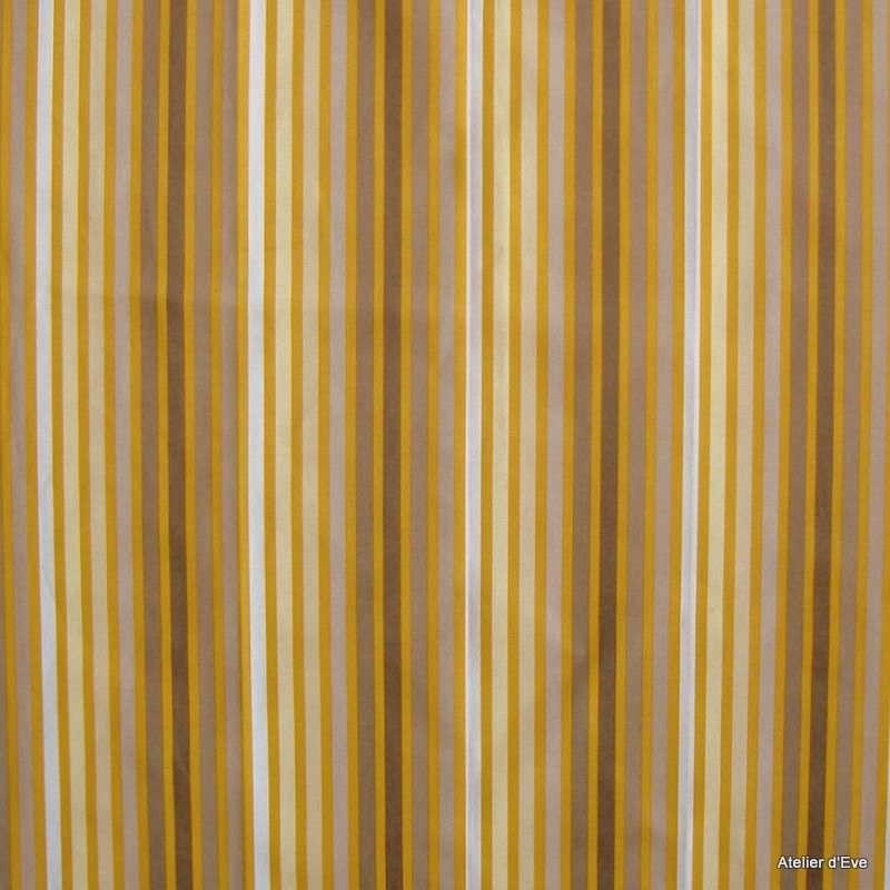 Symphonie taupe fond moutarde Tissu ameublement à rayures coton grande largeur Thevenon