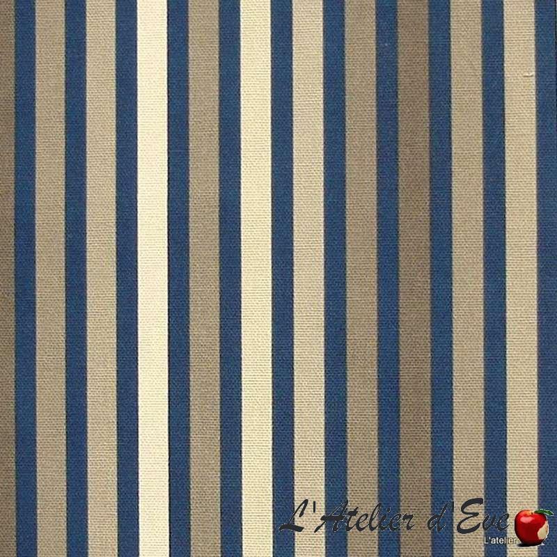 Symphonie taupe fond encre Rouleau tissu à rayures coton ameublement et sièges Thevenon Pièce ou Demi-pièce