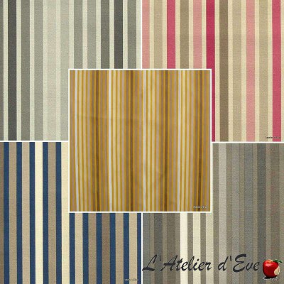 Symphony (9 colors) fabric roll cotton striped upholstery and seats Thévenon Piece or half room