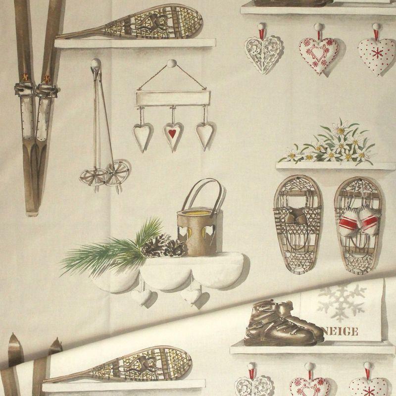 Rideau style montagne Merry Bell coton fond écru Thevenon/evedeco.com