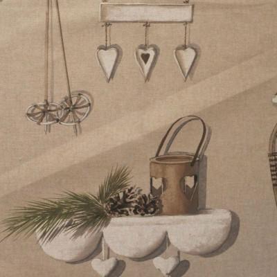 Merry Bell taupe/naturel tissu spécial recouvrement de sièges pour tapissier