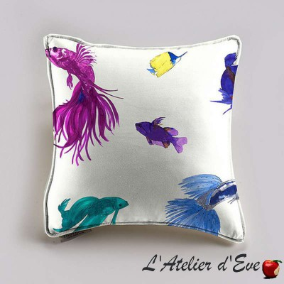Glowing Fish pillow and pillow case (2 dimensions) cotton fabric Thévenon