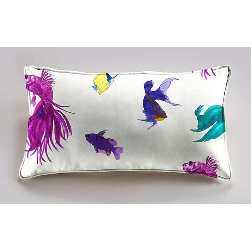 Glowing Fish Coussin 60x30cm Tissu coton Thevenon Prune Cirelli