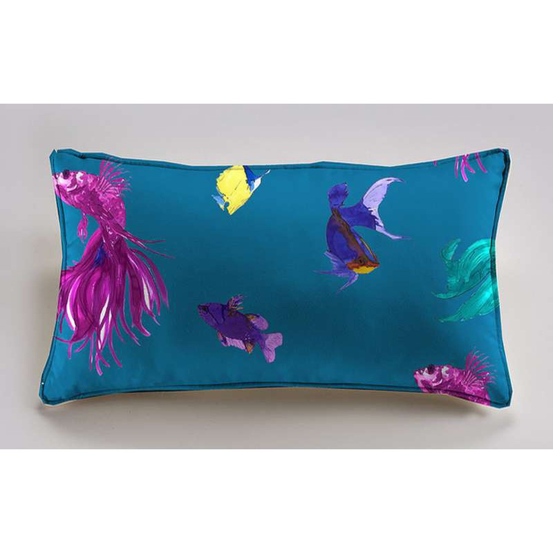 Glowing Fish Coussin 60x30cm Tissu coton Thevenon